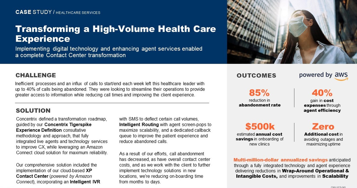 Transforming a High-Volume Health Care Experience